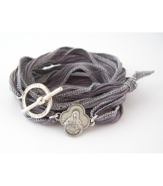 Bracelet en soie Vierge au Sacré Coeur