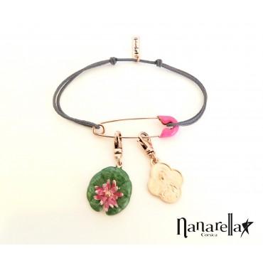 Bracelet épingle à nourrice émaillée rose