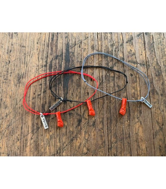 Bracelet cordon Main en Corail